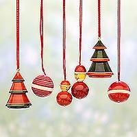 Wood ornaments, 'Holiday Sojourn' (set of 6) - Set of Six Wooden Christmas Ornaments by Indian Artisans