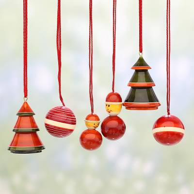 Set Of Six Wooden Christmas Ornaments By Indian Artisans Holiday Sojourn