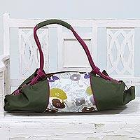 Leather accent batik cotton duffel bag, 'Beach Outing' - Batik Cotton Floral Duffel Bag in Clay from India