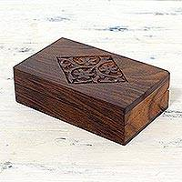 Mango wood decorative box, 'Spring Blossoms' - Hand Carved Decorative Mango Wood Box from India