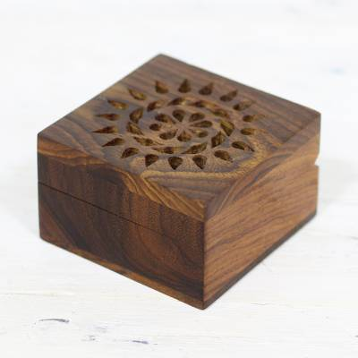 Mango wood decorative box, 'Glorious Flower' - Hand Carved Decorative Mango Wood Box from India