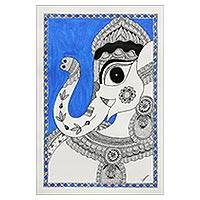 Madhubani painting, 'Magnificent Ganesha II' - Ganesha Madhubani Folk Art Painting from India