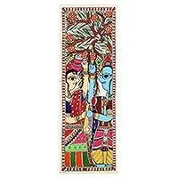 Madhubani painting, 'Blooming Love' - Signed Indian Madhubani Folk Painting of Krishna and Radha