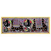 Madhubani painting, 'Rajasthan Beauty' - Signed Indian Madhubani Painting of Royal Mughal Elephants