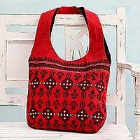 Cotton shoulder bag, 'Delightful Kites' - Geometric Cotton Shoulder Bag in Chili from India