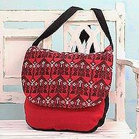 Cotton messenger bag, 'Chili Spice' - Geometric Cotton Messenger Bag in Chili from India