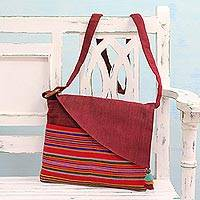 Cotton shoulder bag, 'Trendy Claret' - Striped Cotton Sling Handbag in Claret from India