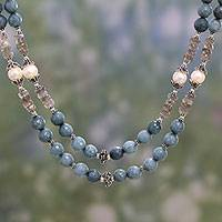 Multi-gemstone strand necklace, 'Calm Waters' - Multi Gemstone Double Strand Necklace from India