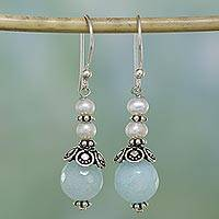Aventurine and cultured pearl dangle earrings, 'Crowning Glory' - Aqua Aventurine and Cultured Pearl Dangle Earrings