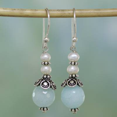 Aventurine and cultured pearl dangle earrings, Crowning Glory