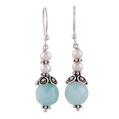 Aqua Aventurine and Cultured Pearl Dangle Earrings