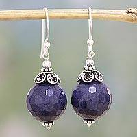 Aventurine dangle earrings, 'Blue Violet Exuberance' - Violet Blue Aventurine and Sterling Silver Dangle Earrings