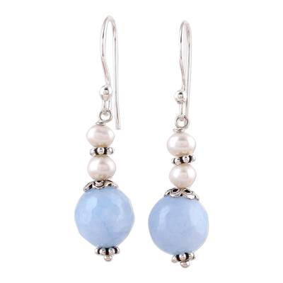 Blue Aventurine and Cultured Pearl Dangle Earrings
