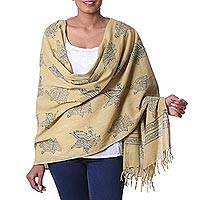 Cotton shawl, 'Royal Golden Eagle' - Bird Motif Yellow and Blue Mud Resist Cotton Print Shawl