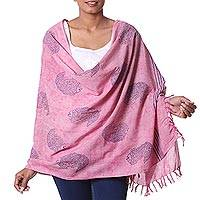 Cotton shawl, 'Rosy River' - Handcrafted Indian Mud Resist Block Print Pink Cotton Shawl