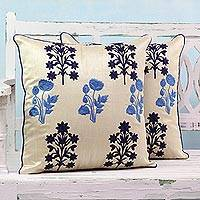 Embroidered cushion covers, 'Spring Zephyr' (pair) - Blue Floral Embroidered Cushion Cases from India (Pair)