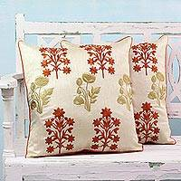 Embroidered cushion covers, 'Cluster of Flowers' (pair) - 2 Machine Embroidered Floral Cushion Covers from India