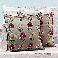 Embroidered cushion covers, 'Floral Pirouette' (pair) - Machine Embroidered Grey and Red Cushion Covers (Pair)