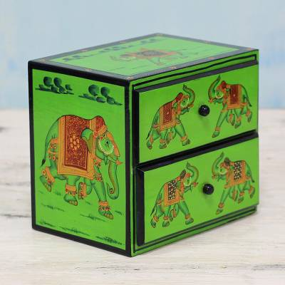 Wood mini chest of drawers 'Exuberant Elephants in Green' - Hand Painted Wood Mini Chest with Elephants from India
