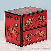 Wood mini chest of drawers 'Exuberant Elephants in Red' - Hand Painted Wood Mini Chest with Elephants from India
