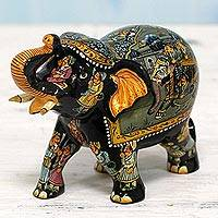 Wood elephant sculpture, 'Royal Pachyderm' - Indian Wood Elephant Sculpture with Miniature Paintings