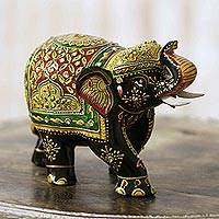Wood elephant sculpture, 'Bejeweled Elephant' - Bejeweled Hand Crafted Wood Elephant Sculpture from India