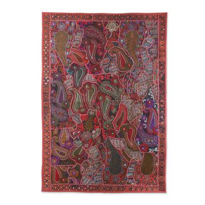 Patchwork wall hanging, 'Swimming Paisleys' - Recycled Patchwork Paisley Wall Hanging from India