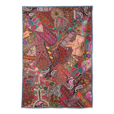 Patchwork wall hanging, 'Floral Vibrancy' - Multicolored Recycled Patchwork Wall Hanging from India