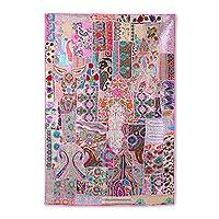 Patchwork wall hanging, 'Orchid Windows' - Recycled Patchwork Floral Wall Hanging in Orchid from India