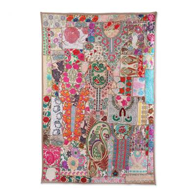 Patchwork wall hanging, 'Fresh Elegance' - Multicolored Patchwork Floral Wall Hanging from India