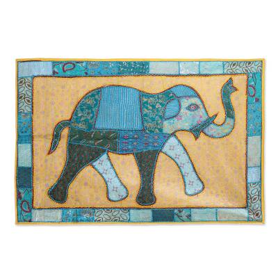 Patchwork wall hanging, 'Elephant Frame' - Recycled Patchwork Wall Hanging of a Blue Floral Elephant