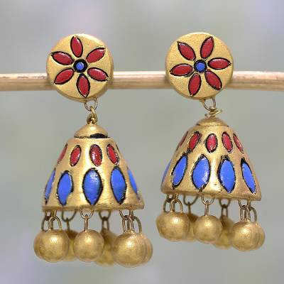 Ceramic dangle earrings, 'Glorious Gold' - Hand-Painted Floral Ceramic Dangle Earrings in Gold Tone