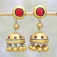 Ceramic dangle earrings, 'Red Gold' - Hand-Painted Indian Ceramic Dangle Earrings in Gold and Red