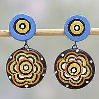 Ceramic dangle earrings, 'Floral Eyes' - Hand-Painted Floral Ceramic Dangle Earrings from India