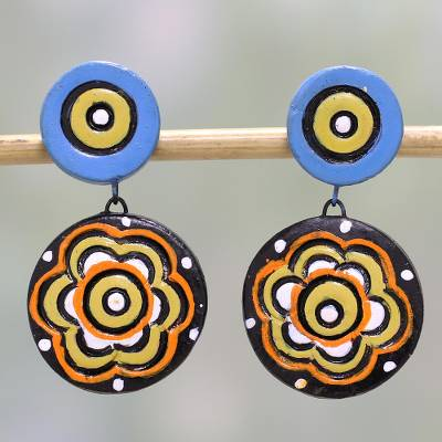 Hand-Painted Floral Ceramic Dangle Earrings from India, 'Floral Eyes'