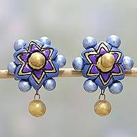 Ceramic dangle earrings, 'Heavenly Flowers' - Purple and Blue Floral Ceramic Dangle Earrings from India