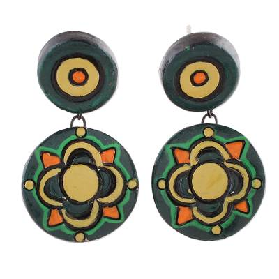 Floral Ceramic Dangle Earrings in Green by Indian Artisans