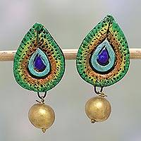 Ceramic dangle earrings, 'Peacock Drops' - Ceramic Drop Shaped Dangle Earrings by Indian Artistans