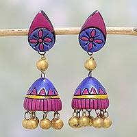 Ceramic dangle earrings, 'Cerise Flowers' - Hand Crafted Floral Ceramic Dangle Earrings from India