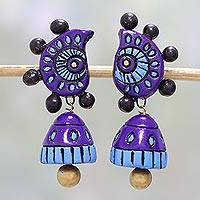 Ceramic dangle earrings, 'Grandiose Sky' - Hand-Painted Ceramic Dangle Earrings in Blue from India
