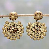 Ceramic dangle earrings, 'Golden Royalty' - Hand-Painted Gold Tone Ceramic Dangle Earrings from India