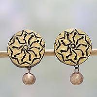 Ceramic dangle earrings, 'Golden Floral' - Gold Tone Floral Ceramic Dangle Earrings by Indian Artisans