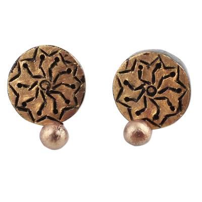 Gold Tone Floral Ceramic Dangle Earrings by Indian Artisans