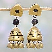 Ceramic dangle earrings, 'Harmonious Gold' - Gold Tone Ceramic Dangle Earrings by Indian Artisans