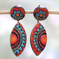 Ceramic dangle earrings, 'Aztec Colors' - Colorful Ceramic Dangle Earrings by Indian Artisans