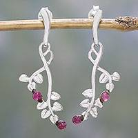 Tourmaline dangle earrings, 'Pink Cherries' - Tourmaline and Sterling Silver Leaf Earrings from India