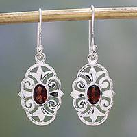 Garnet dangle earrings, 'Red Enchantment' - Garnet and 925 Sterling Silver Dangle Earrings from India