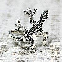 Sterling silver cocktail ring, 'Wild Glamour' - Sterling Silver Lizard Cocktail Ring from India