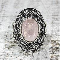 Rose quartz cocktail ring, 'Rosy Aroma' - Rose Quartz Paisley Motif Cocktail Ring from India