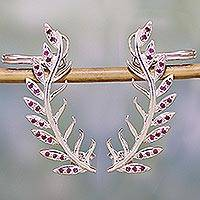 Sterling silver ear crawlers, 'Pink Leaves' - 925 Sterling Silver Leafy Ear Crawlers from India